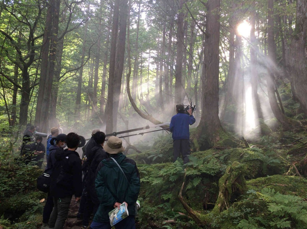 茅野市・蓼科大滝での撮影風景